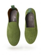 parisienne cuir velour vert lime doublure cuir lisse cognac semelle cuir